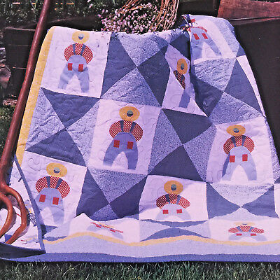 1900s OVERALL BILL SAM (SUNBONNET SUE'S COUSIN) QUILT PATTERN FARM BOY JEANS HAT