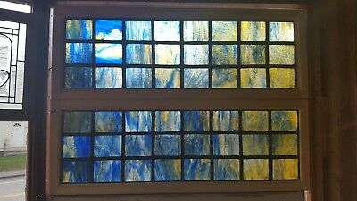 Pair Of Antique Stained Glass Windows - Blue Squares