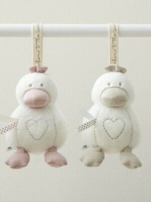 BNWT Mamas and Papas Baby Super Soft Chime Duck Soother Comforter Toy Pink Beige