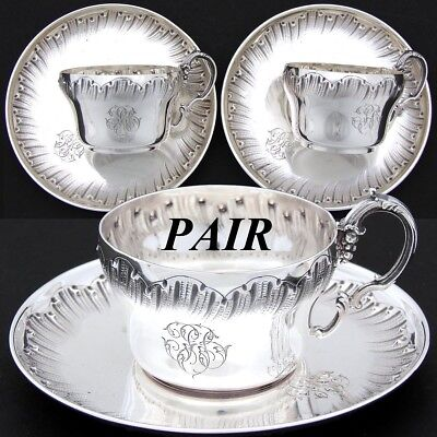 PAIR Antique French Sterling Silver Tea Cup & Saucer Set, 4pc, Rococo Style