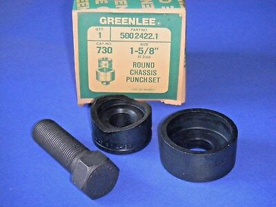 "GREENLEE 730 Round Radio Chassis Knockout Punch 1 5/8""  # 500 2422.1 -3 Pc NOS"
