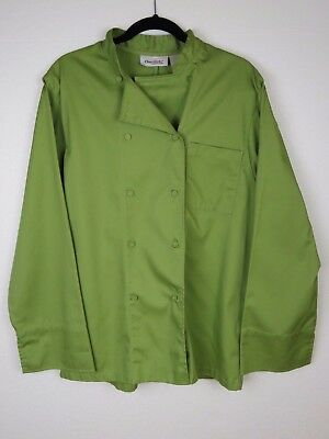 Chef Works Mens Chef Coat Long Sleeve Olive Green Shoulder Pocket Size Medium