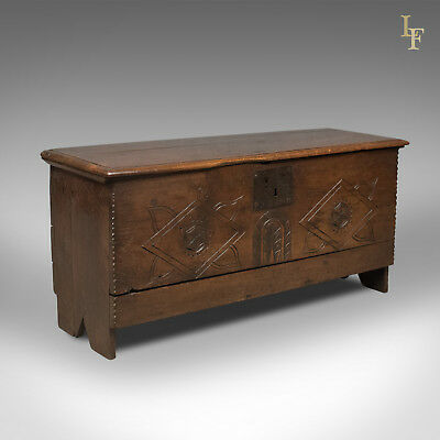 Antique Coffer, 6 Plank Sword Chest, English Oak, 17th Century c.1670