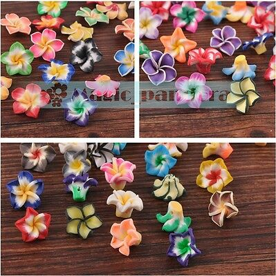 DIY 10/20/50pcs 15~33mm Mixed Color Polymer Fimo Clay Flower Spacer Loose Beads