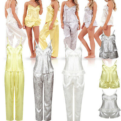 Ladies Women 3 Piece Satin Pyjama Set Vest Lace Shorts PJ'S Nightwear Nighty