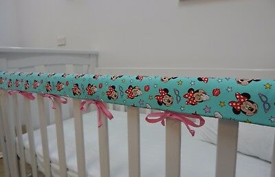 Minnie Mouse Cot Rail Cover Crib Teething Pad Aqua x 1