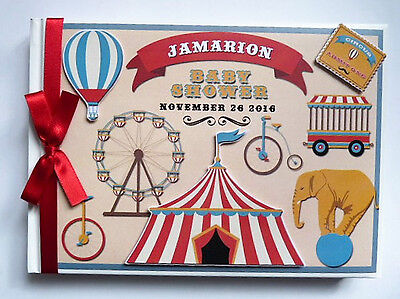 Personalised Vintage Circus First/1St Birthday Guest Book - Any Design