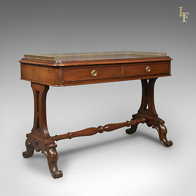 Early Victorian Antique Writing Library Table, Mahogany, English c.1840