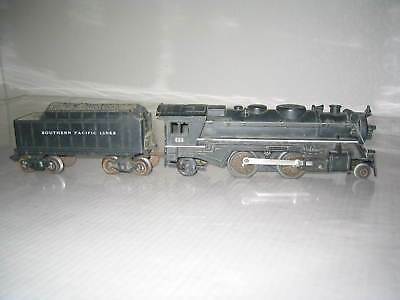 MARX 666 METAL LOCOMOTIVE ENGINE w/ SOUTHERN PACIFIC TENDER (T8)