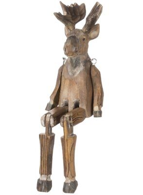 Sitting Moose Rustic 2.5 x 9 Inch Wood Jointed Leg Decorative Shelf Sitter