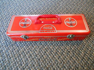 2003 Coca Cola Coke Tin Container Tool Box Chest Lunch w/ Latches WORK REFRESHED