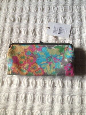 HOBO LAUREN in LUSH TROPICS Double Frame Leather Clutch Wallet Purse NWT $128