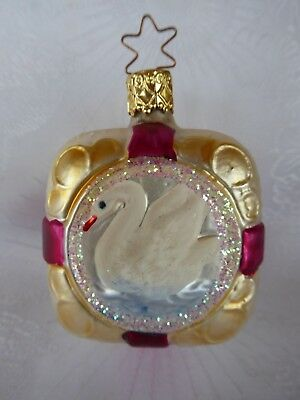 Vintage Old World Christmas Inge Glass Glitter Ornament Swan Lake Made N Germany