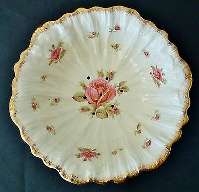 CROWN DUCAL roses large salad DRAINER BOWL lots gold embossed SHABBY CHIC VINTAG