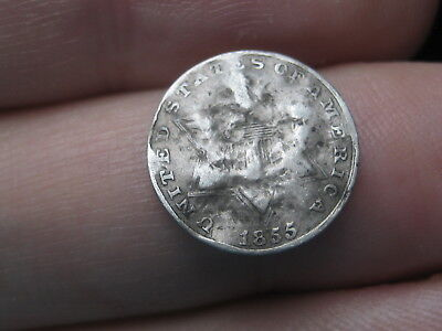 1855 Three 3 Cent Silver Trime- Rare Key Date- Repunched Date, RPD