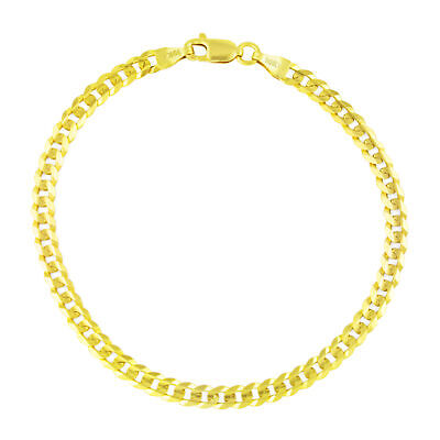 """10K Yellow Gold 4MM Womens SOLID Cuban Link Curb Chain Bracelet Lobster Clasp 7"""""""