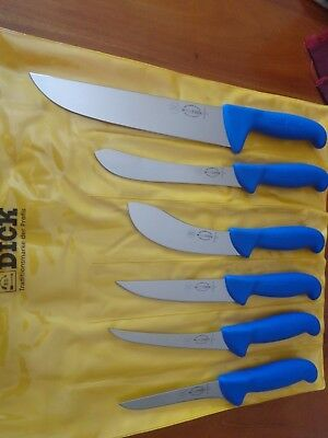 F Dick  6 Piece Pro Butcher Field Dressing Knife Set Ergogrip Made In Germany