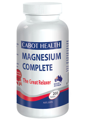 New Cabot Health Magnesium Complete 200 Tablets The Great Relaxer of Cramp