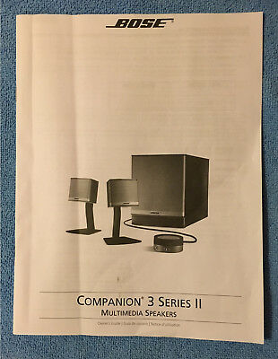 BOSE Companion 3 Series II Multimedia Computer Speaker System Owner's Manual