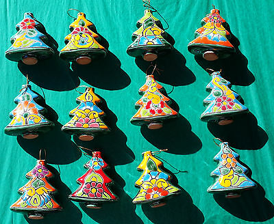 "Talavera Christmas Trees Ornament Terra Cotta Hand Painted Mexican 3.5"" x 3"""
