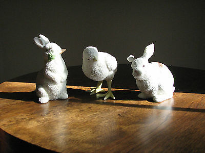 3 VTG SNOWBUNNIES DEPT 56 EASTER FIGURINES 1995 chick AND 96 and 97 Bunnies IOB