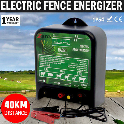 NEW 40km 12V Power Electric Fence Energiser Charger Poly Wire Tape Posts