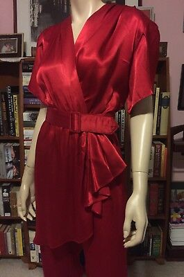 Vintage ALL THAT JAZZ HOT RED SATIN DRESS JUMPSUIT Ruffle Front Petal Sleeves 7