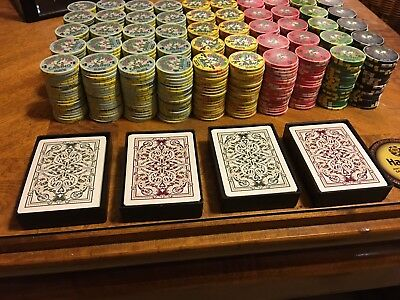 1000 Chipco Silver Dollar Casino Poker Chip Set w/ Cards, Cases & Dealer Button
