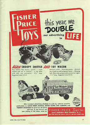 1952 Fisher Price Agian Snoopy Sniffer & Toy Wagon Vintage Toy Trade Ad