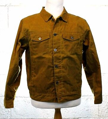 FLINT AND TINDER Flannel Lined Waxed Cotton Trucker Jacket Tan Brown MIUSA Small
