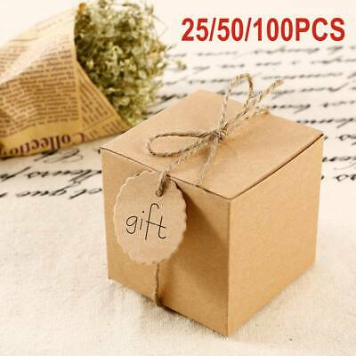 100X Eco Kraft Small Natural candy box Wedding Favour Chocolate Box | FREE Tags