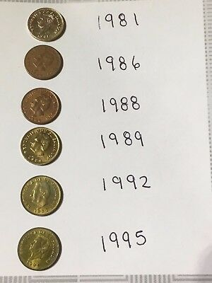 El Salvador Coin Set - All The 1 Cents Used Between 1981 And 1995 (The Last One