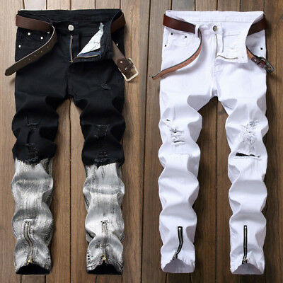 US Men's Stretchy Ripped Skinny Biker Jeans Destroyed Taped Slim Fit Denim Pants
