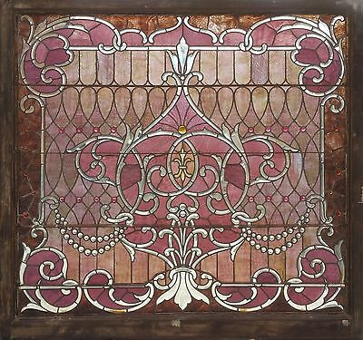 Antique American Stained/Beveled and Jeweled Landing Window from Chicago
