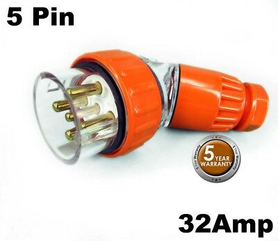 Tesla 32 AMP 3 Phase 5 Pin Round Angled Extension Plug