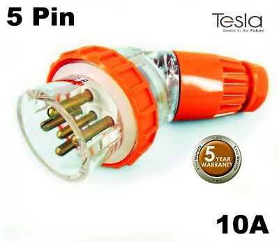 Tesla 10 AMP 3 Phase 5 Pin Round Angled Extension  Plug