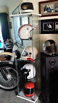 Glass display cabinet perfect for helmets, protective, cover.