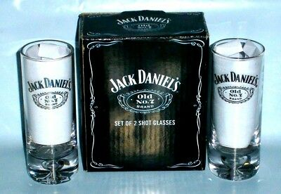 Jack Daniels Old No 7 Brand Tall Shot Glasses Boxed new 4 home bar collector