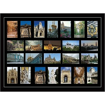 "Large multi picture photo aperture frame fits 24 photos of size 6"" x 4"" inches"