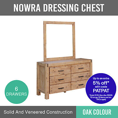 New Dresser With Mirror Veneered Acacia Construction Oak Colour 6 Drawers Nowra
