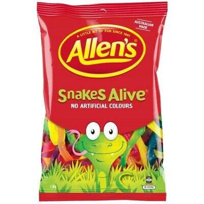 "903538 1.3kg BULK BAG ALLENS SNAKES ALIVE FRUIT FLAVOURED ""ALLEN'S MAKES SMILES"""