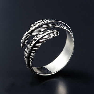 Men Women Vintage Bird Feather Wrap Opening Ring Party Gift Fashion Jewelry New