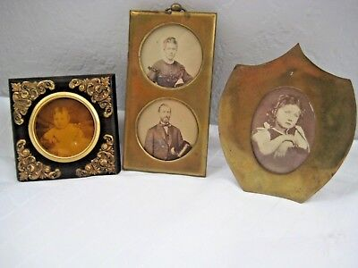 Antique lot of 3 small wood and brass glass pictures frames