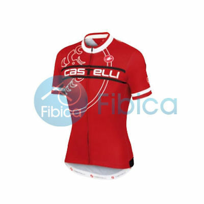 New Castelli Cycling Segno Jersey FZ Full Zip Men's Red L-XXL