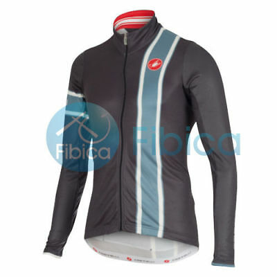 New Castelli Cycling Storica Jersey FZ Full Zip Long Sleeve Men Grey Blue M-XXL