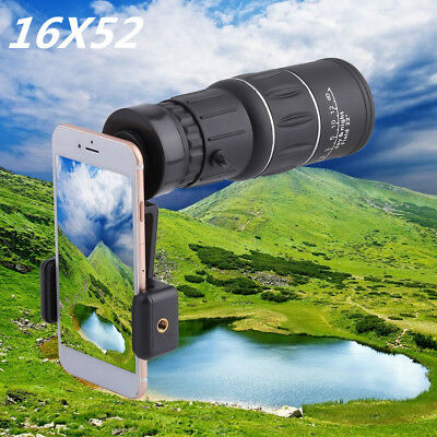 16x52 Zoom Hiking Dual Focus Monocular Telescope 66M/8000M Phone Holder Pouch VP
