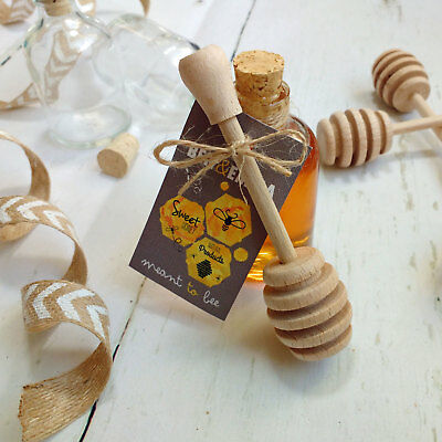Wedding Favour Meant to Bee Rustic Mini Honey Glass Jar with Drizzler Spoon