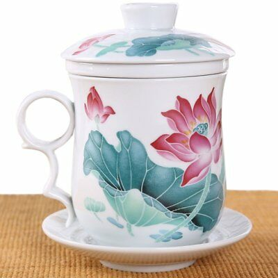 BandTie Convenient Travel Office Ceramics Teacup Loose Leaf Tea Brewing Blue and