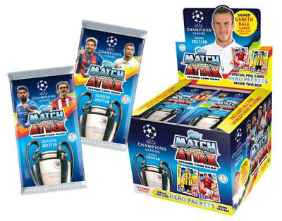 10 X 2017/18 Topps UEFA Champions League Soccer Match Attax Booster Packs - New
