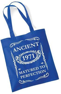 49th Birthday Gift Tote Shopping Cotton Bag Ancient 1971 Matured To Perfection